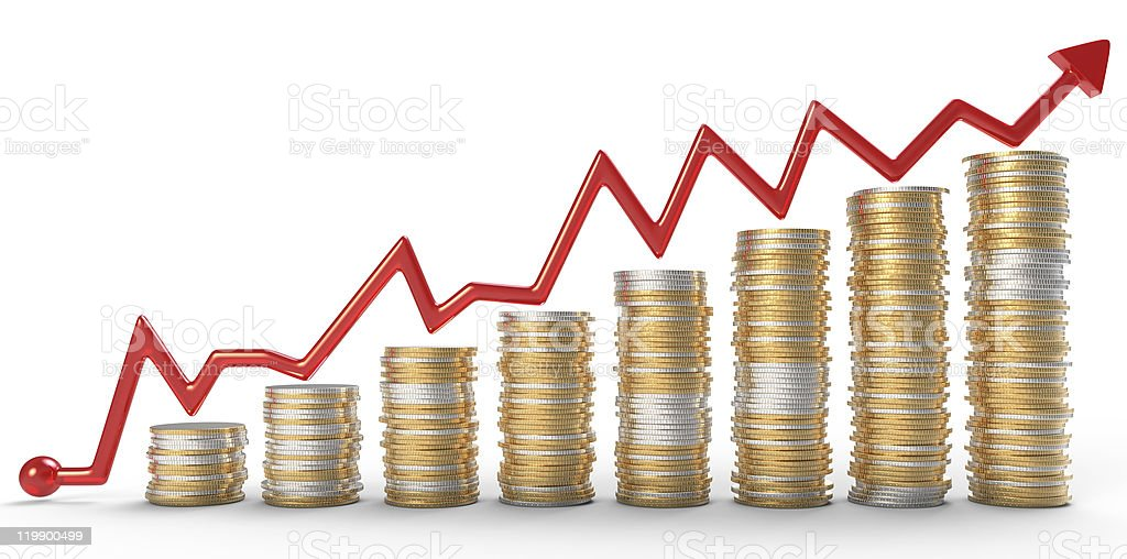 Growth: red graph over golden coins royalty-free stock photo
