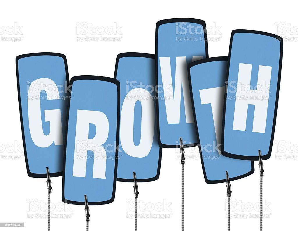 Growth Speech Bubble in Wire Clam (Clipping Path) stock photo