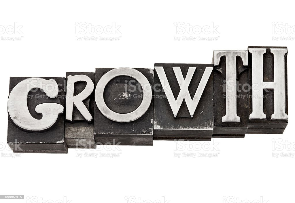 growth word in metal type royalty-free stock photo