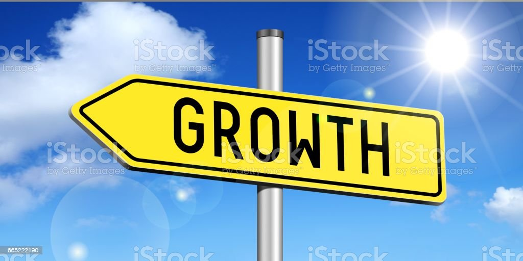 Growth - yellow road sign stock photo