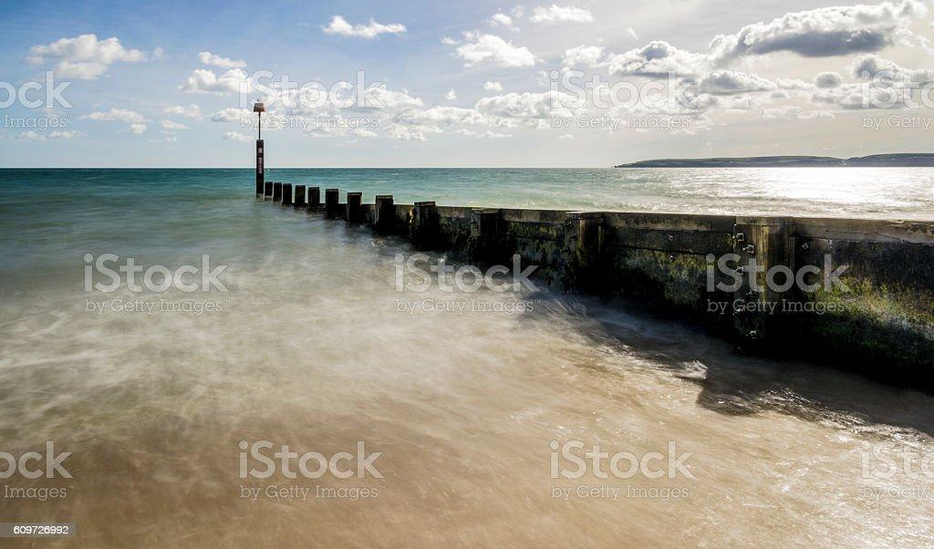 Groyne on Bournemouth Beach Purbecks stock photo