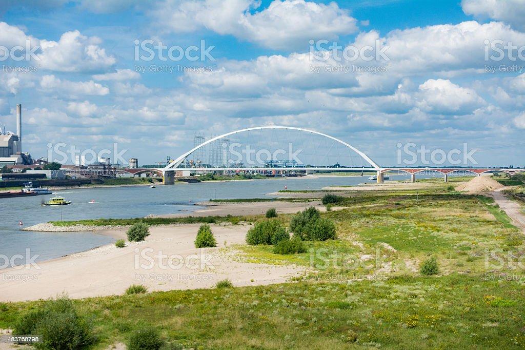 groynes in the Waal river (Rhine) stock photo