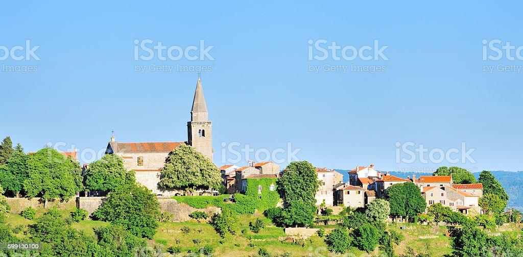 Groznjan (Grisignana) Panorama, Istria, Croatia stock photo
