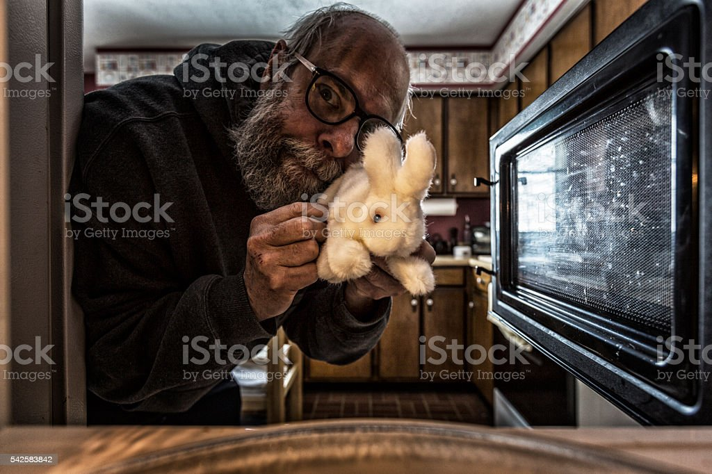 Grubby Deranged Man Putting Stuffed Bunny Into Microwave stock photo