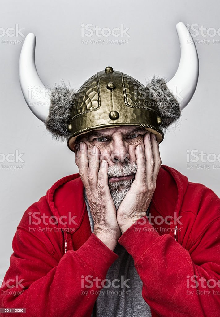 Grubby Horned Helmet Armor Gray Beard Senior Man stock photo