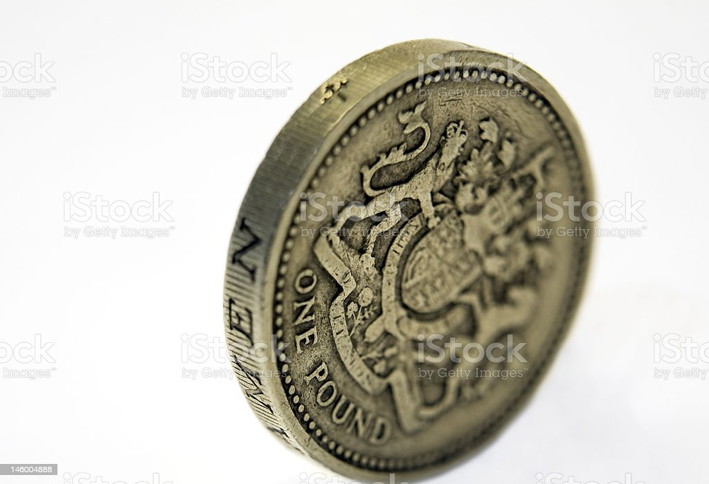 Grubby pound coin close-up isolated on white royalty-free stock photo