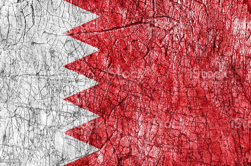 Grudge stone painted Bahrain flag stock photo