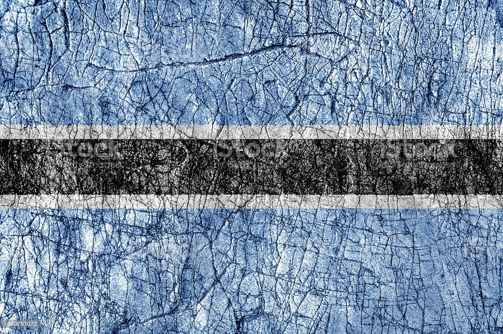 Grudge stone painted Botswana flag stock photo