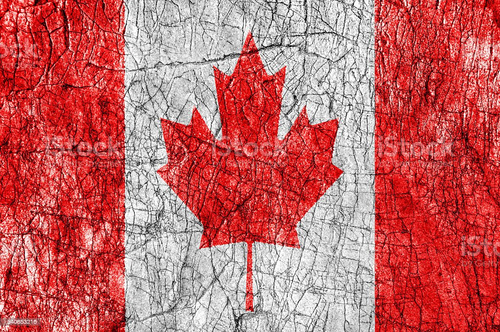 Grudge stone painted Canada flag stock photo