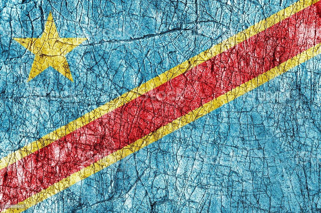 Grudge stone painted Congo flag stock photo
