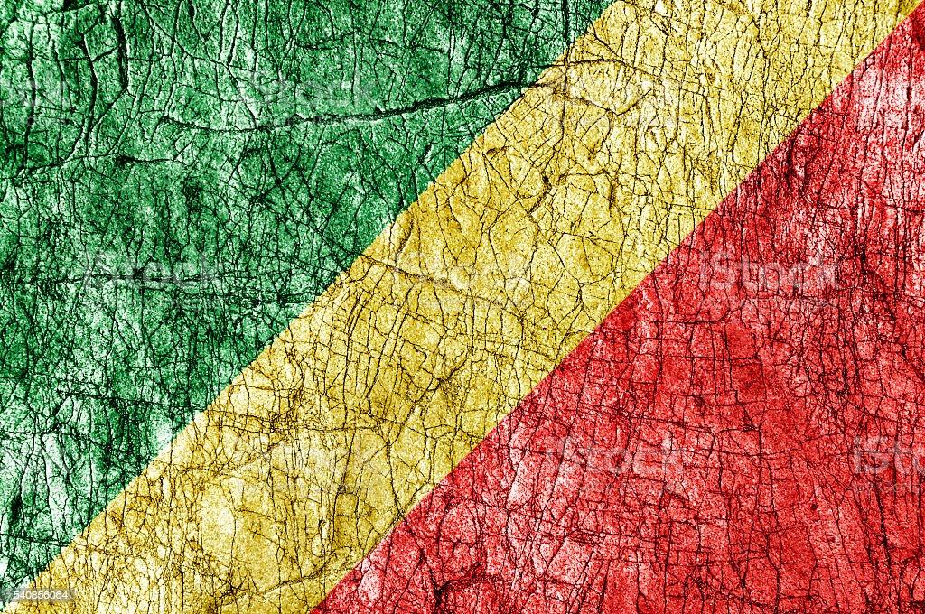 Grudge stone painted Congo Republic flag stock photo