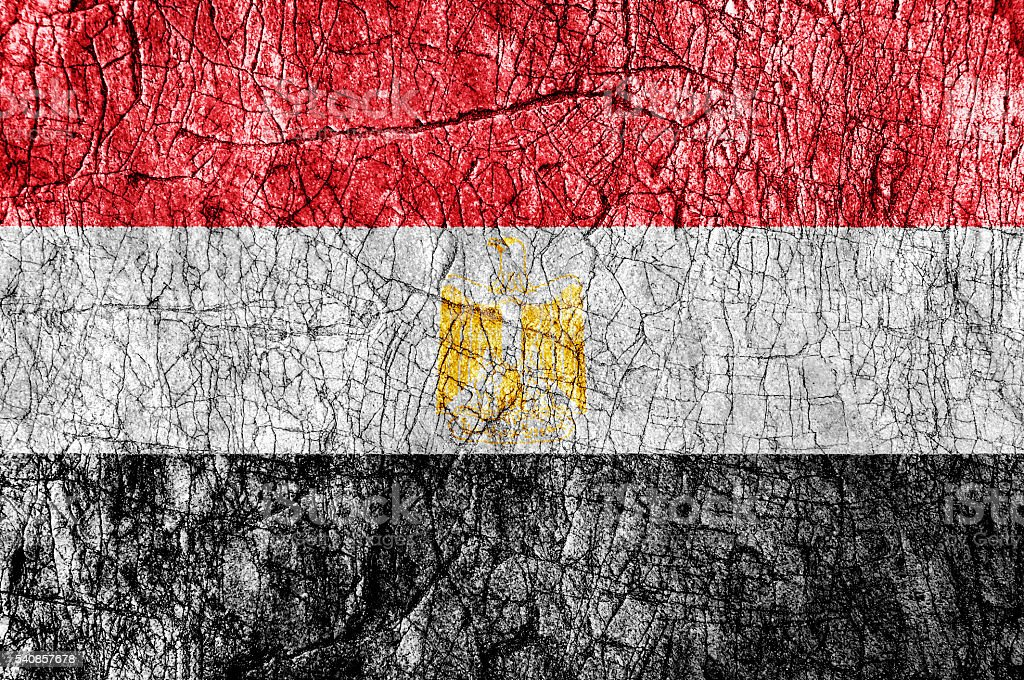 Grudge stone painted Egypt flag stock photo