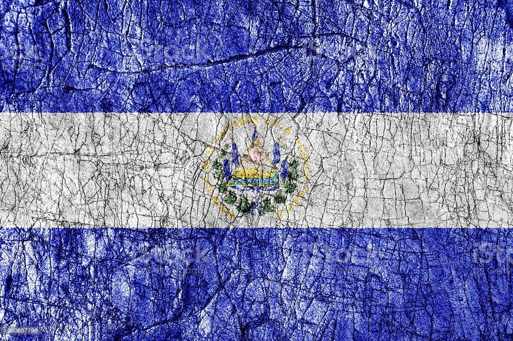 Grudge stone painted El Salvador flag stock photo