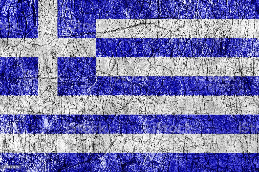 Grudge stone painted Greece flag stock photo