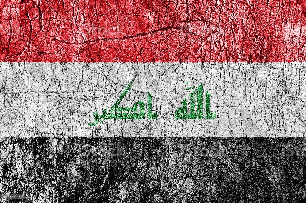 Grudge stone painted Iraq flag stock photo