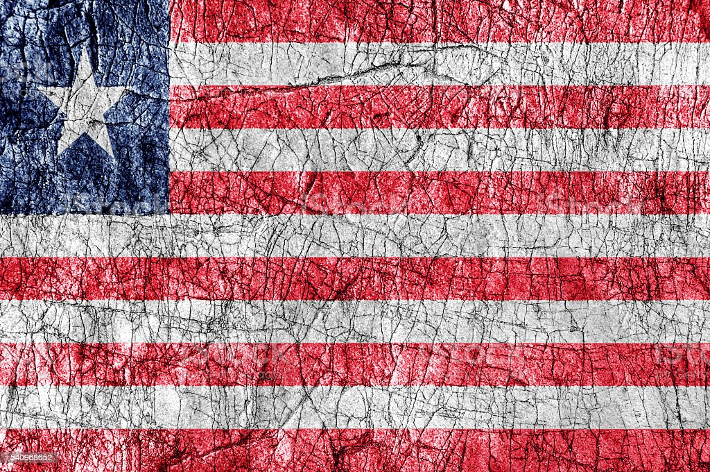 Grudge stone painted Liberia flag stock photo