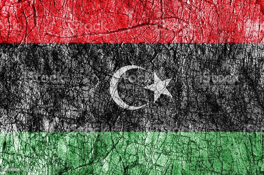 Grudge stone painted Libya flag stock photo
