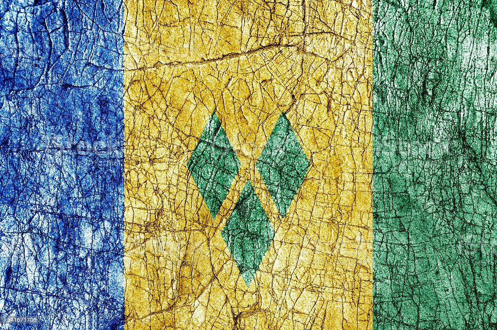 Grudge stone painted Saint Vincent and the Grenadines flag stock photo