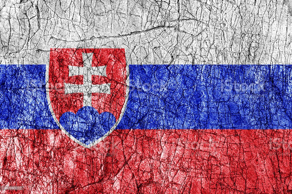 Grudge stone painted Slovakia flag stock photo