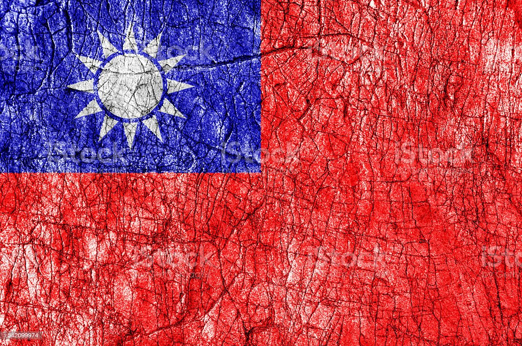 Grudge stone painted Taiwan flag stock photo