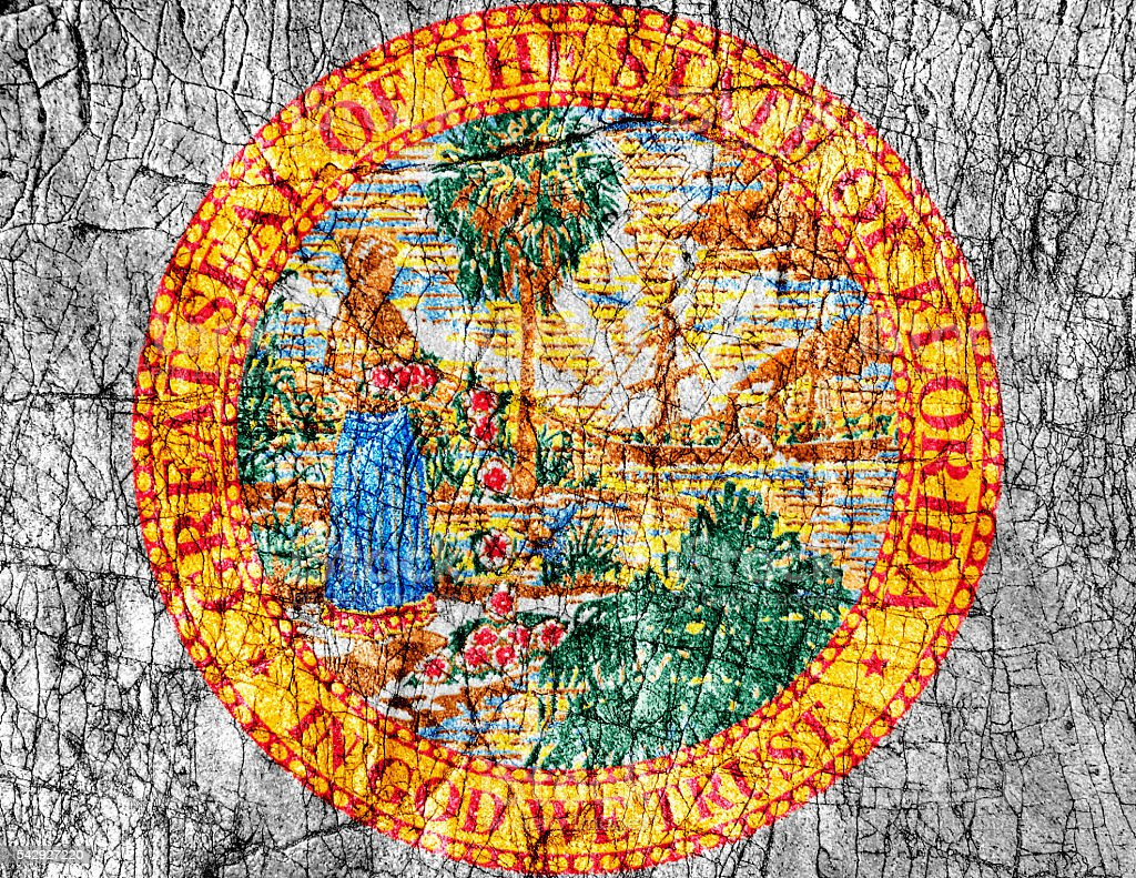 Grudge stone painted US Florida seal flag stock photo