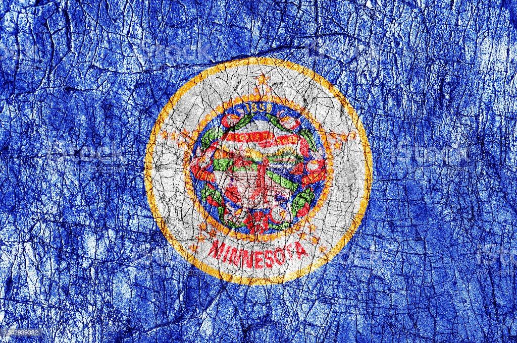 Grudge stone painted US Minnesota flag stock photo