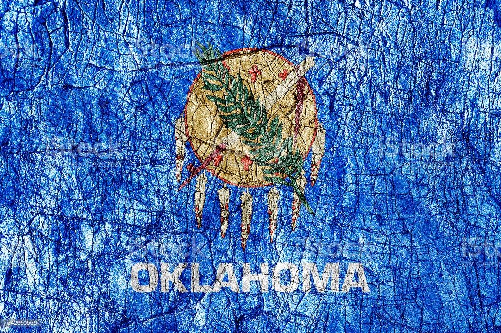 Grudge stone painted US Oklahoma flag stock photo