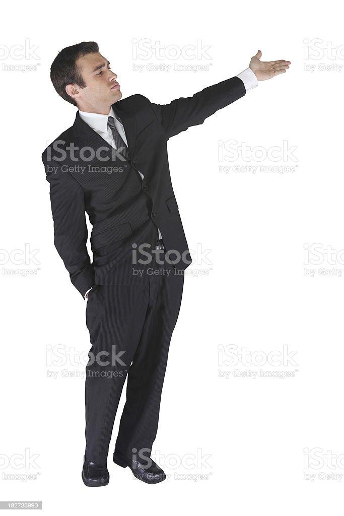Gruff businessman hand up showing something stock photo
