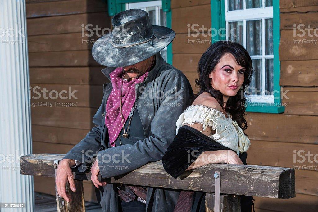 Gruff Man and Woman stock photo