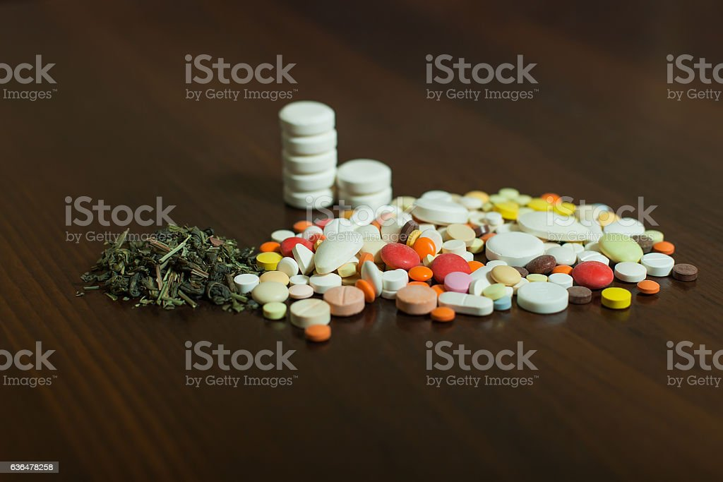 Grugs on wooden table. stock photo