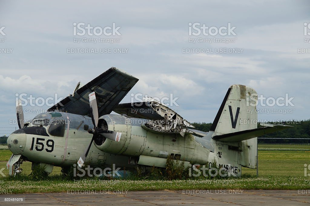 Grumman Tracker V 159: old vintage Dutch military plane wreck stock photo