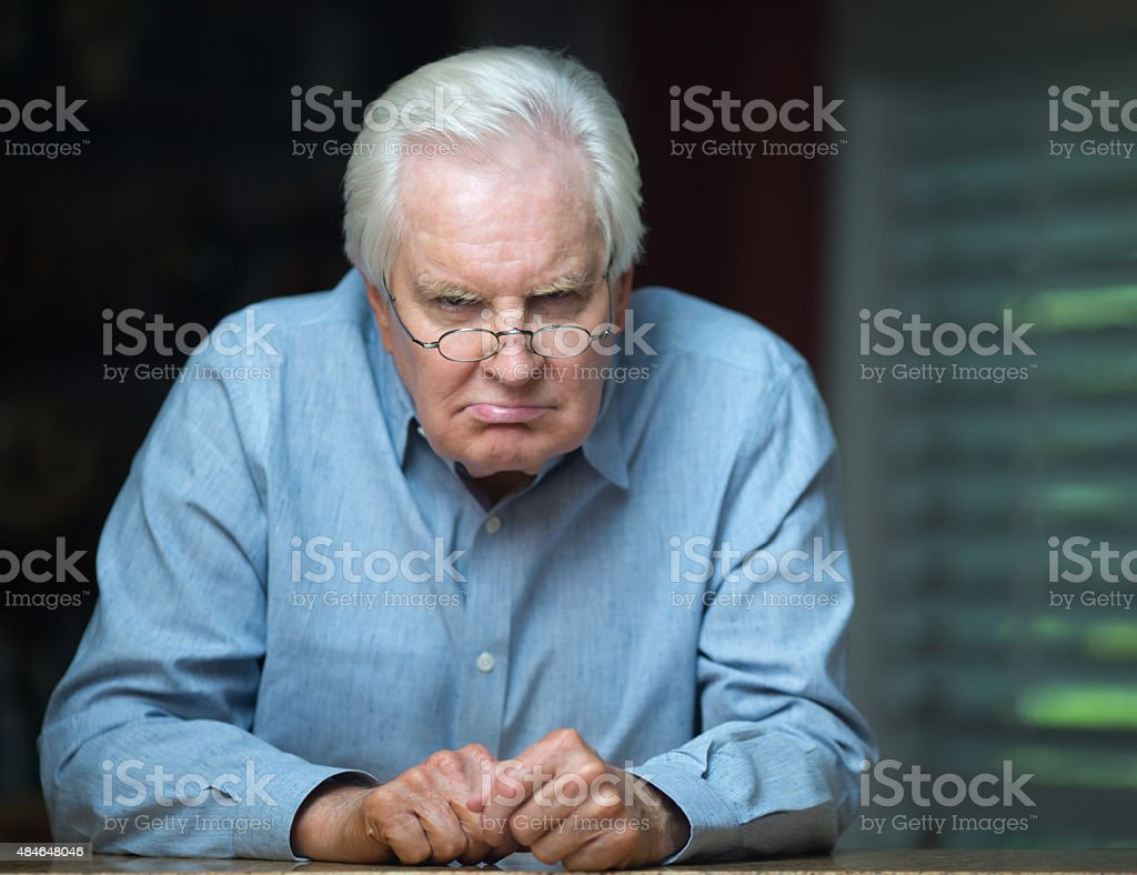 Grumpy Grandpa stock photo