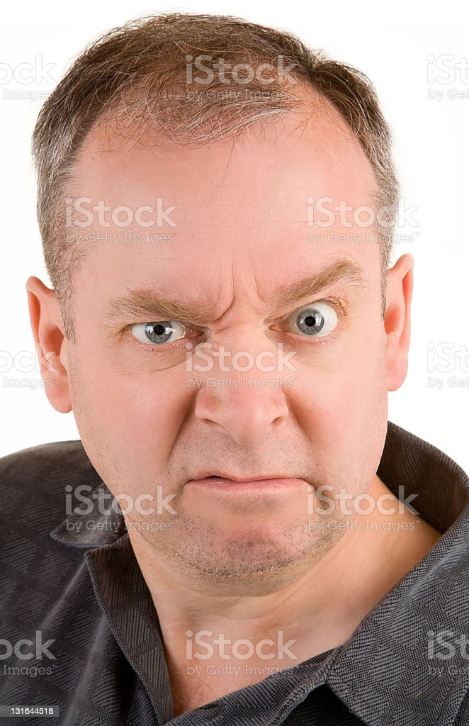 Grumpy Middle Aged Man stock photo