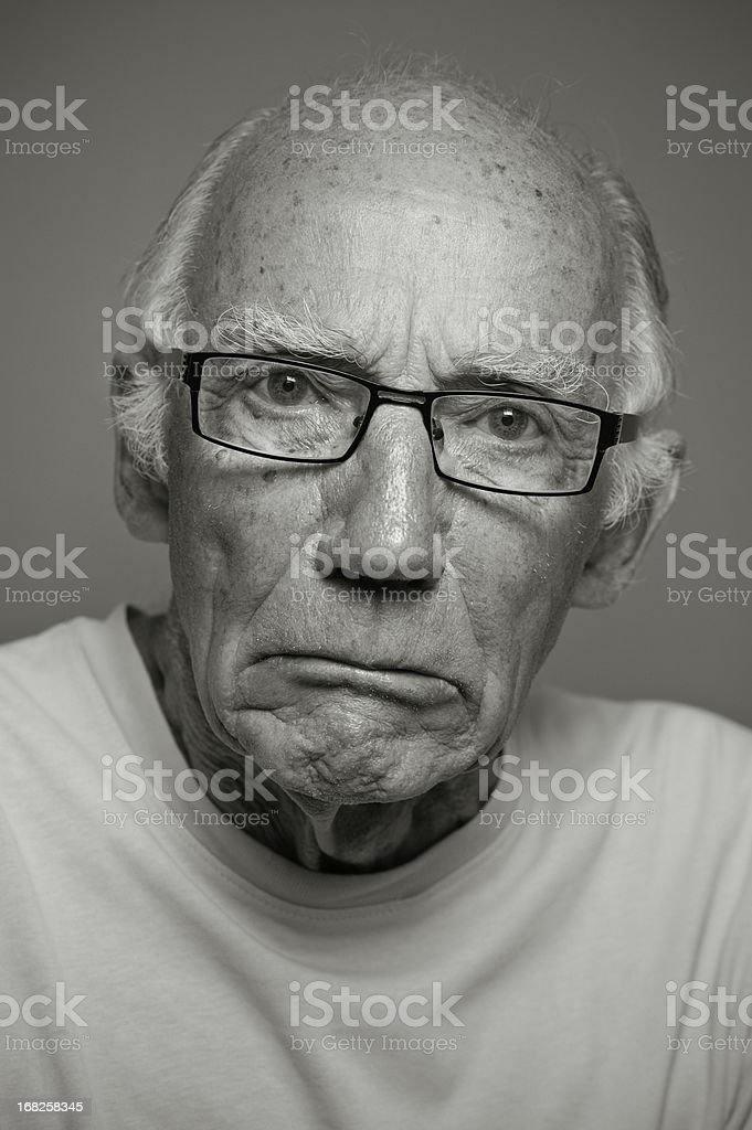 Grumpy Old Man in Monochrome stock photo