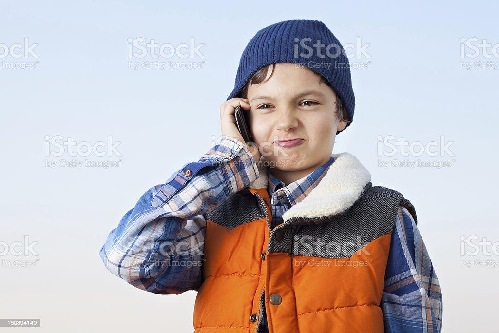 Grumpy Phone Call royalty-free stock photo
