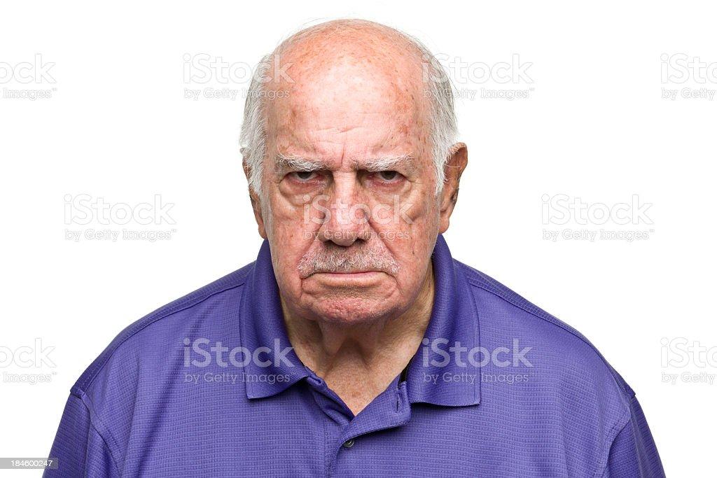 Grumpy Senior Man stock photo