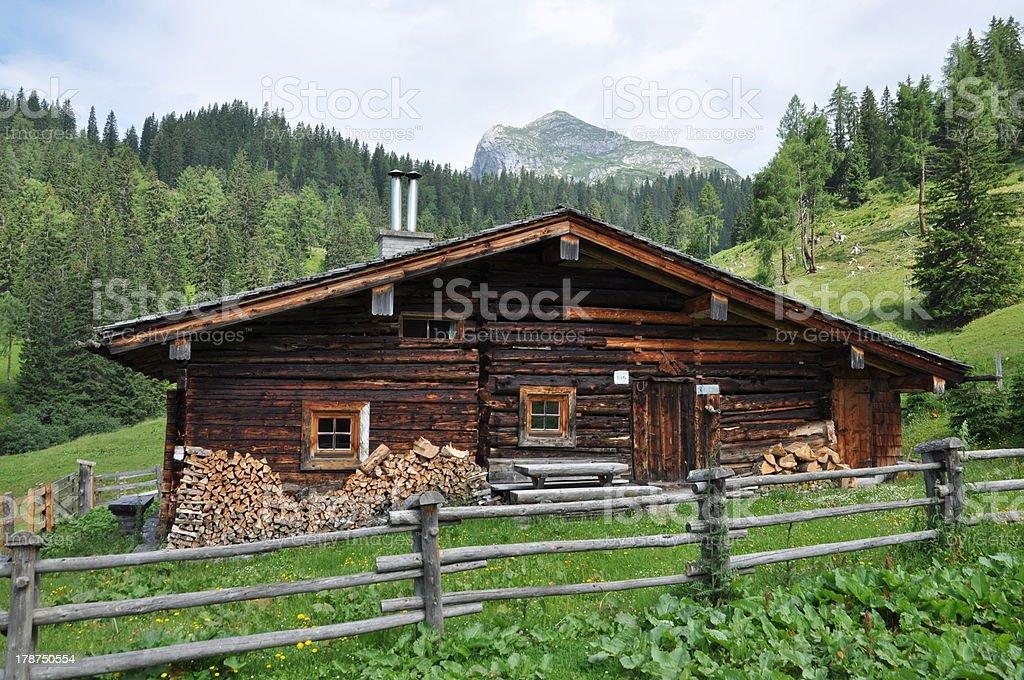 Grundalm, a mountain hut in Austria stock photo