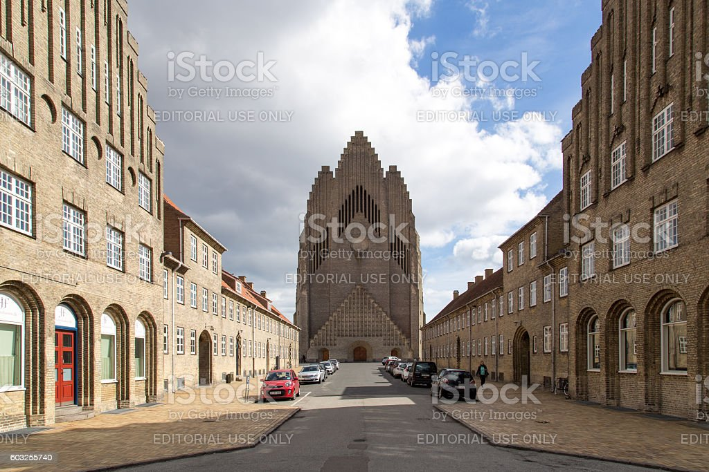 Grundtvigs Church in Copenhagen, Denmark stock photo