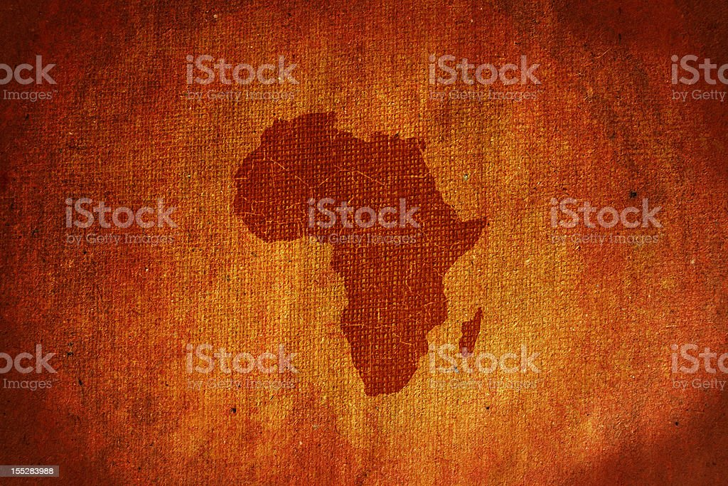 Grunge Africa map canvas stock photo