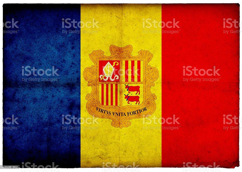 Grunge Andorra Flag on rough edged old postcard stock photo