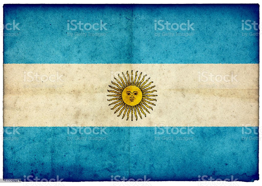 Grunge Argentinian Flag on rough edged old postcard stock photo