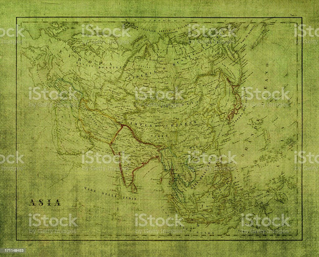 Grunge Asia Map texture royalty-free stock photo