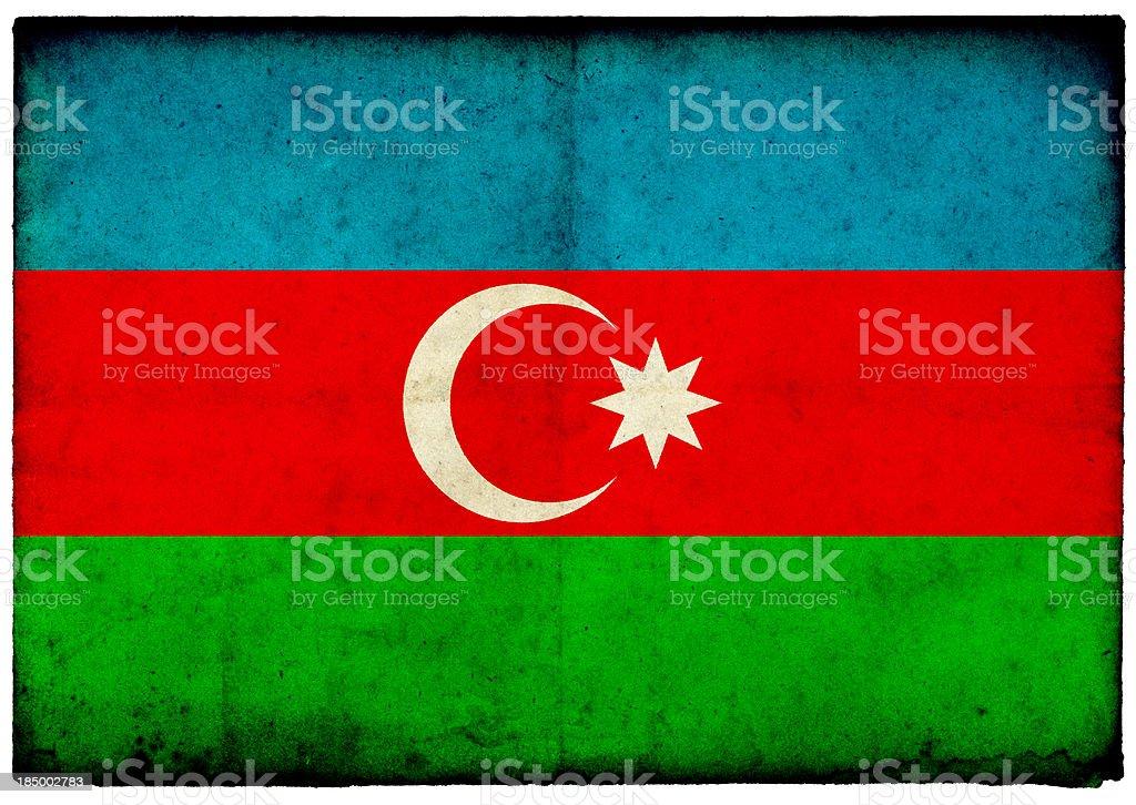 Grunge Azerbaijan Flag on rough edged old postcard stock photo