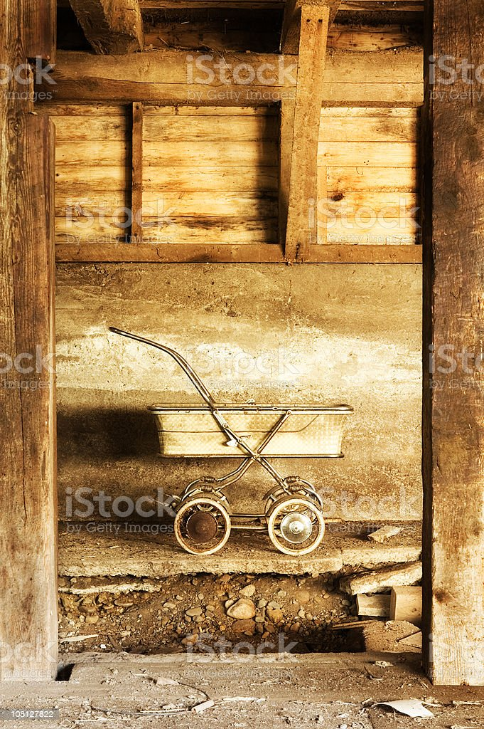 Grunge Baby Carriage royalty-free stock photo