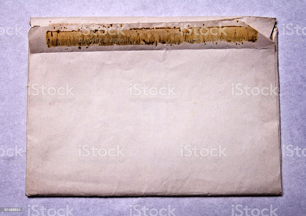 Grunge background - ancient dirty blank envelope stock photo