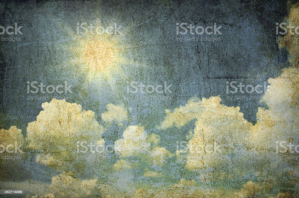 Grunge background of  sun and cloud in the sky royalty-free stock photo