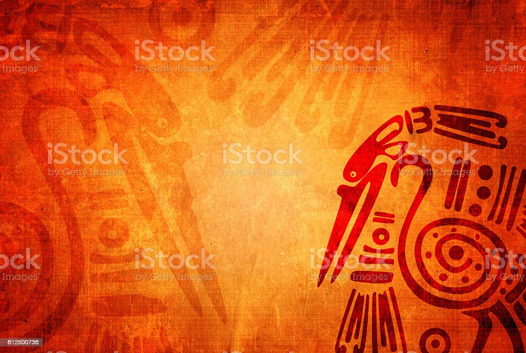 Grunge background with American Indian traditional patterns stock photo