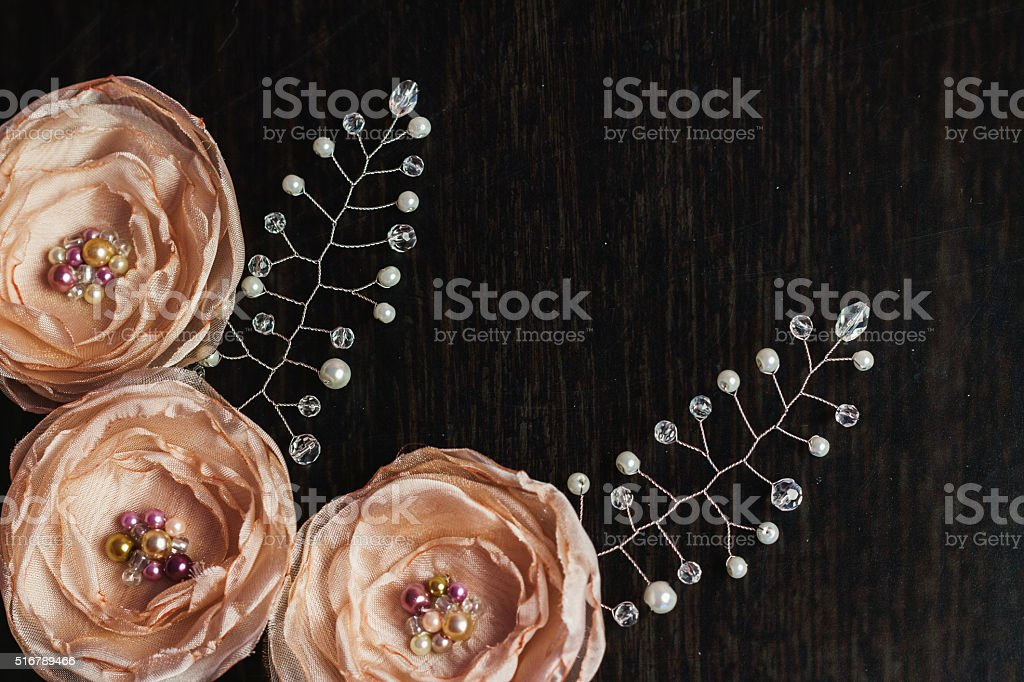 Grunge background with beads with free space stock photo
