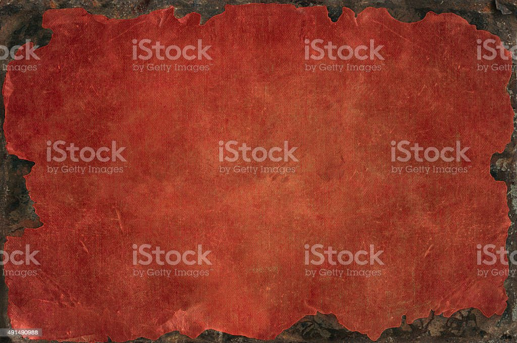 Grunge background with bleached distress texture with rusty iron frame stock photo