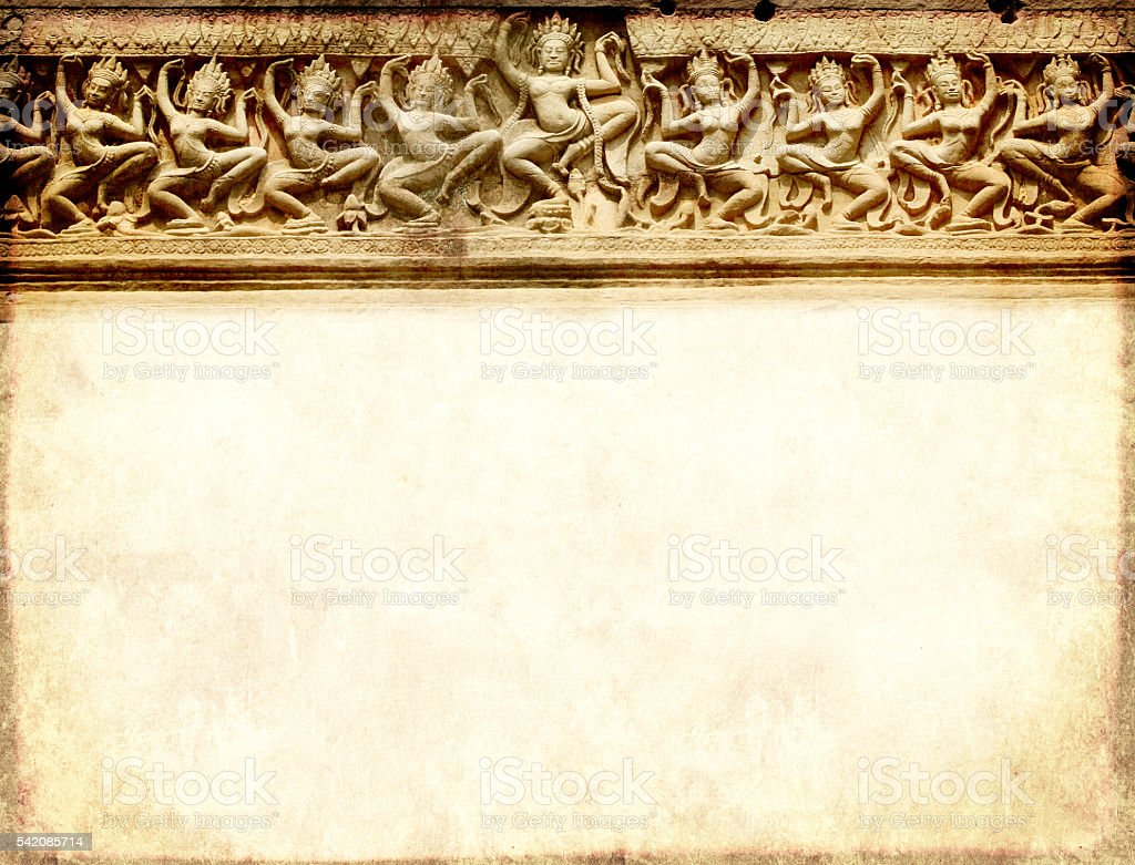 Grunge background with carving, Preah Khan Temple, Angkor Wat, C stock photo